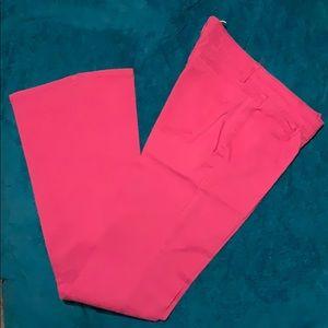Fuchsia Chino Pants with slight flare bottom.